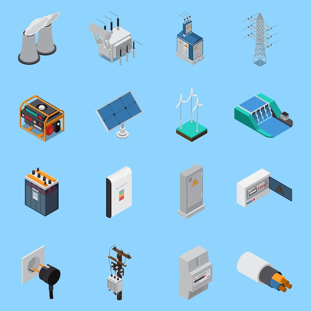 Electricity isometric icons set with cable solar panels wind hydro power generators transformer socket isolated Free Vector