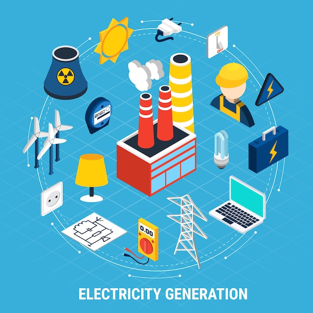 Electricity isometric and round composition Free Vector