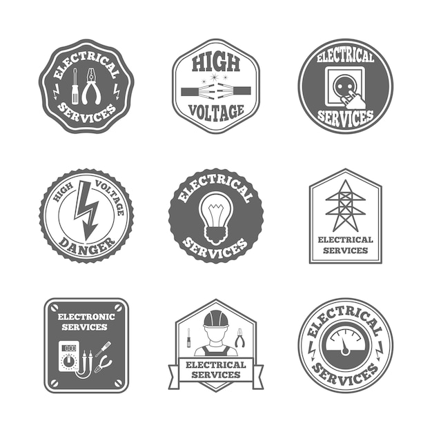 Electricity label set Free Vector