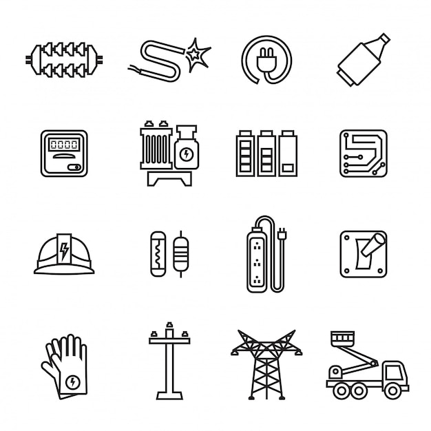 Electricity, power and energy icons set. Premium Vector