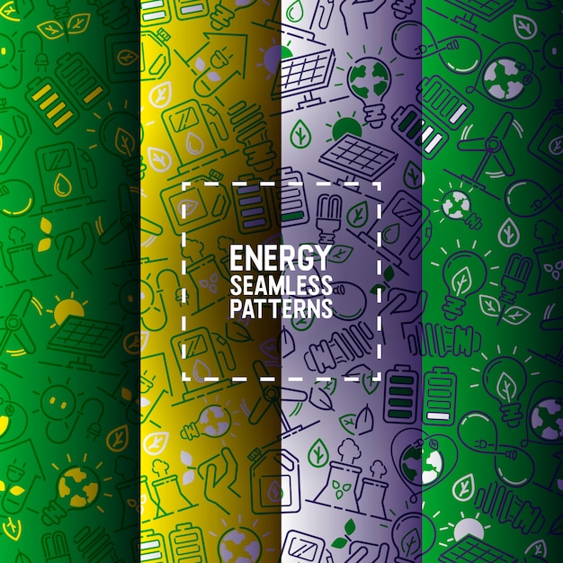 Electricity seamless pattern power electrical bulbs energy of solar panels Premium Vector