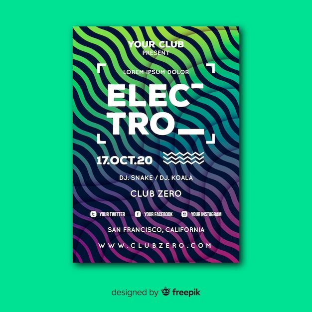 Electro abstract music poster template Free Vector