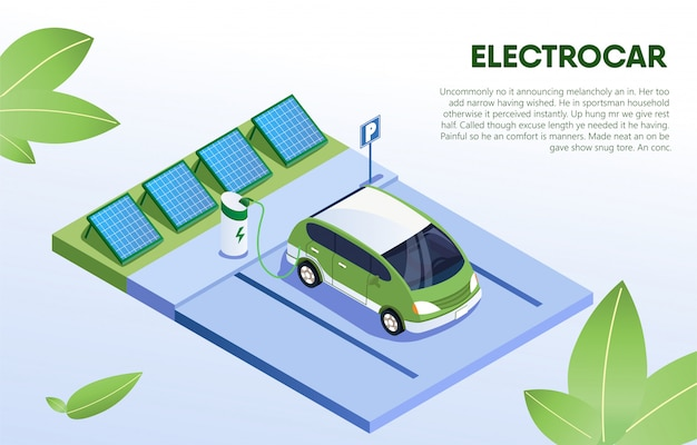 Electro car in refill at station, eco vehicle. Premium Vector