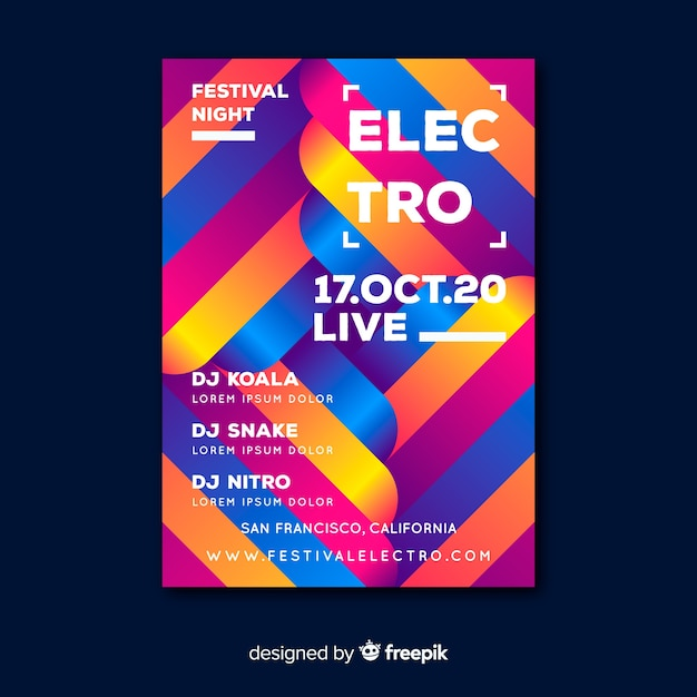 Electro colorful geometric music poster template Free Vector