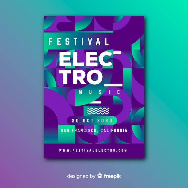 Electro festival geometric music poster template Free Vector