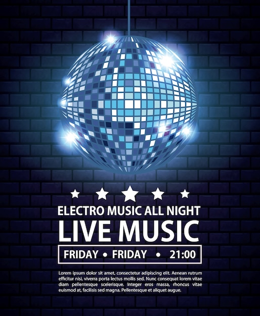 Electro music festivas poster with disco ball Premium Vector