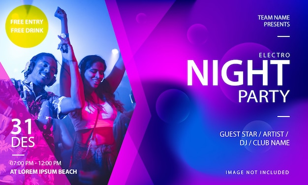 Electro music night party banner template Premium Vector
