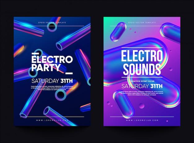 「エレクトロ・サウンド」クラブ招待チラシ。ホログラフィック形状のダンスパーティーのデザイン。 Premiumベクター