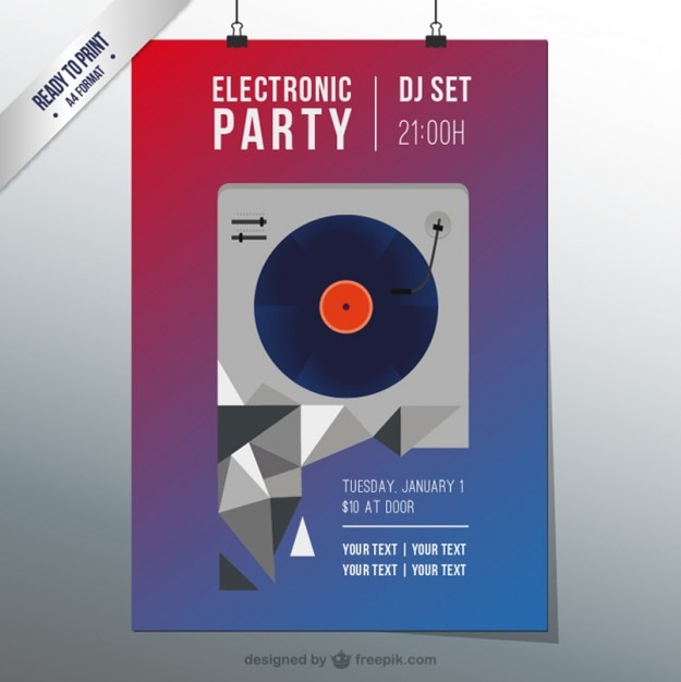 Electro Techno Party Flyer Vector  Free Download