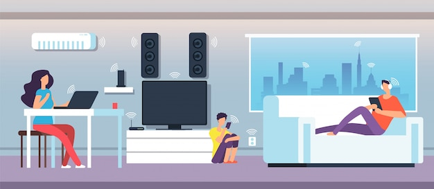Electromagnetic field in home. people under emf waves from appliances and devices. Premium Vector