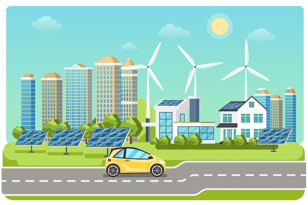Electromobile on highway. electric car, electro car,  windmill city, solar electromobile, driving on highway. vector illustration Free Vector