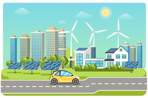 Электромобиль на шоссе. электромобиль, электромобиль, городской ветряк, электромобиль на солнечных батареях, езда по шоссе. векторная иллюстрация Бесплатные векторы