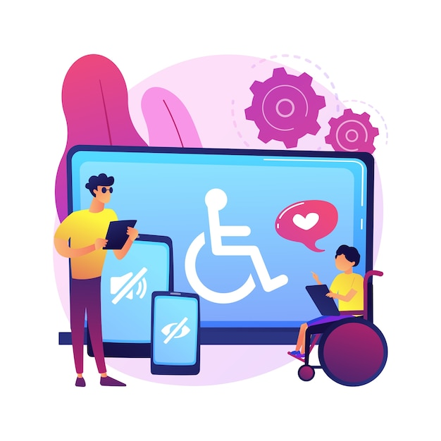 Electronic accessibility abstract concept  illustration. accessibility to websites, electronic device for disabled people, communication technology, adjustable web pages . Free Vector