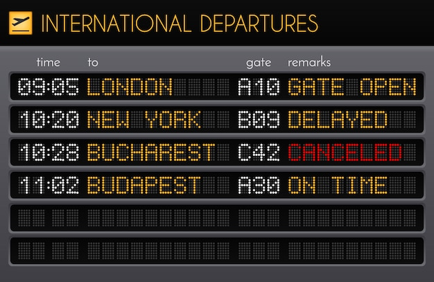 Electronic airport board realistic composition with international departures times gates and remarks descriptions illustration Free Vector