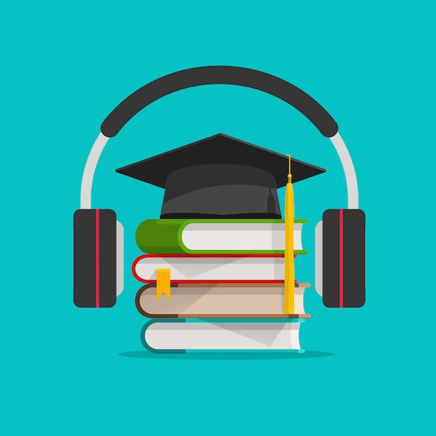 Electronic audio learning or studying online via headphones Premium Vector