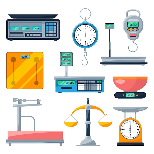 Electronic, balance and other types of scales Premium Vector