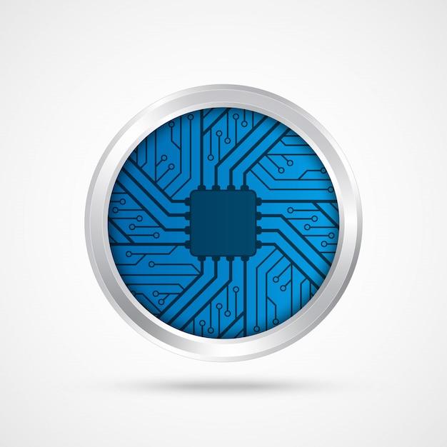 Electronic chip. Premium Vector