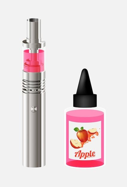 Electronic cigarette and apple vape juice liquids Premium Vector