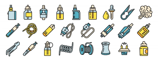 Electronic cigarette icons set, outline style Premium Vector