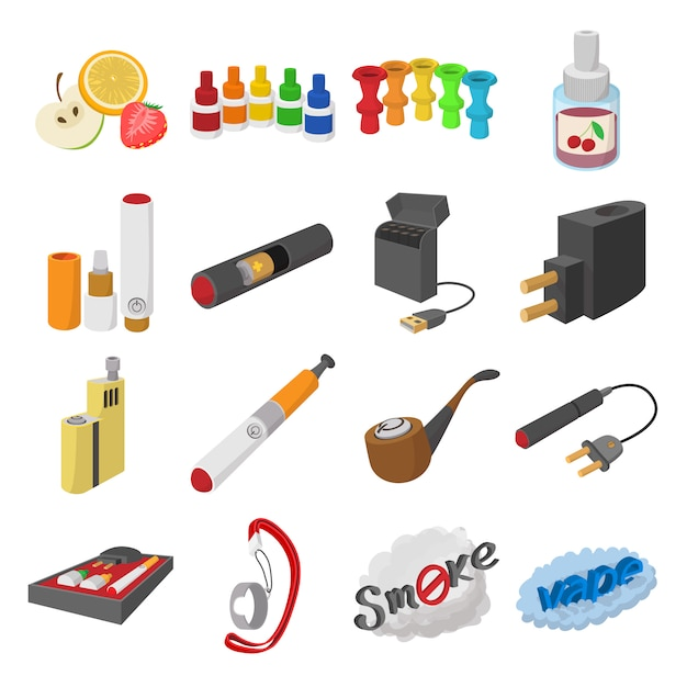 Electronic cigarettes cartoon icons set isolated vector Premium Vector