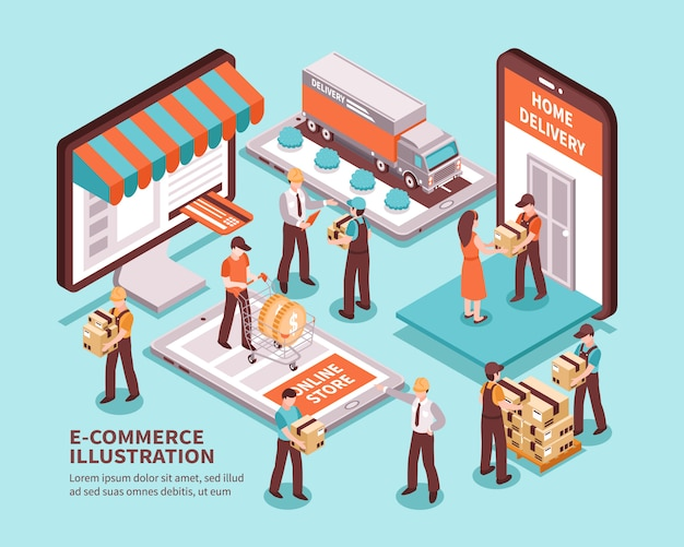 Electronic commerce isometric Free Vector