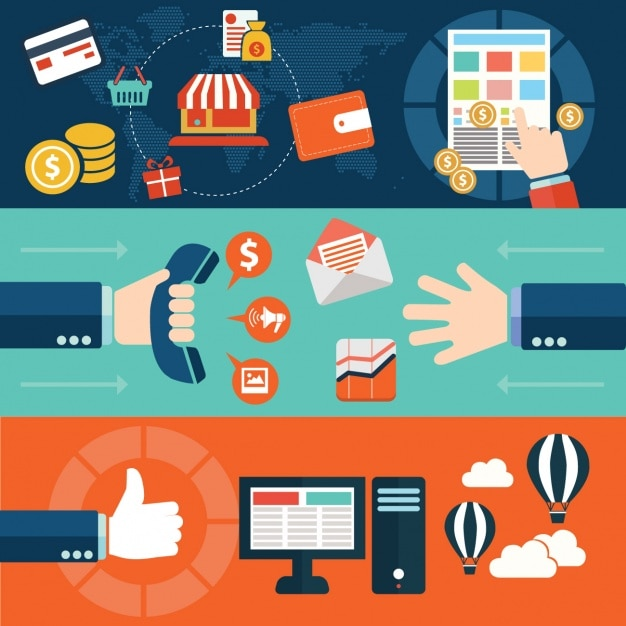 Electronic commerce process Free Vector