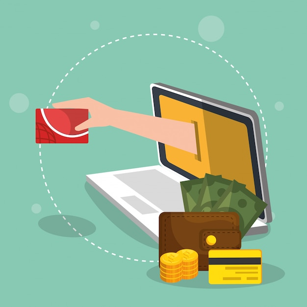 Electronic commerce set icons Free Vector