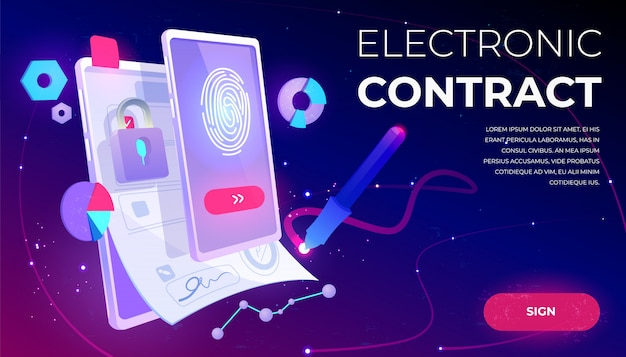 Electronic contract banner Free Vector