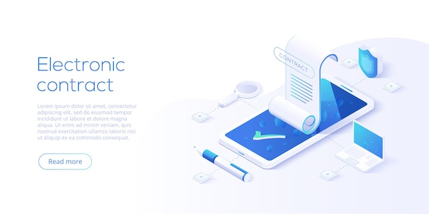 Electronic contract or digital signature concept in isometric illustration Premium Vector
