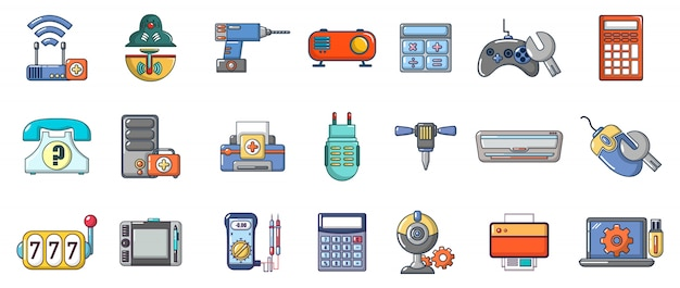 Electronic device icon set. cartoon set of electronic device vector icons set isolated Premium Vector