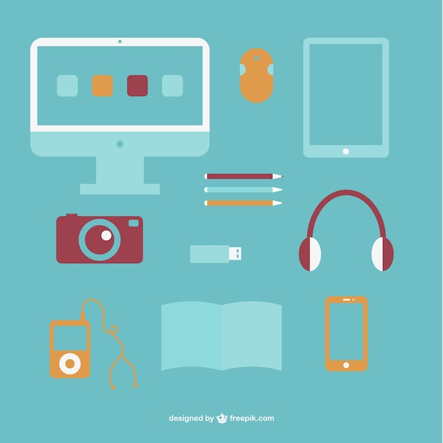 Electronic devices collection with computer, mouse and camera Free Vector