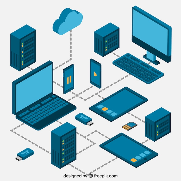 electronic devices in isometric style vector free download
