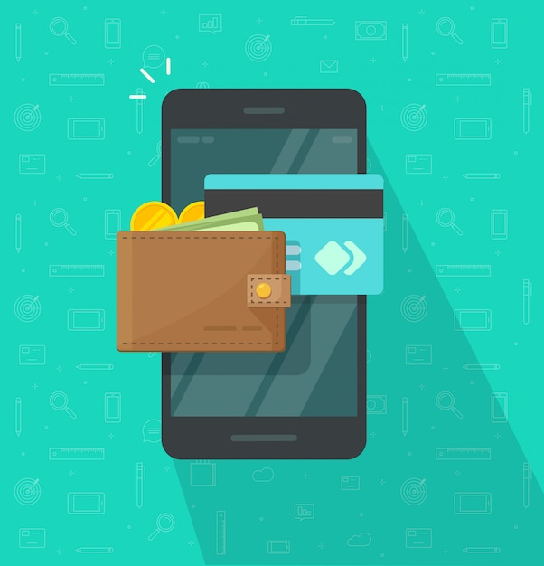 Electronic or digital wallet on mobile phone icon flat cartoon design Premium Vector