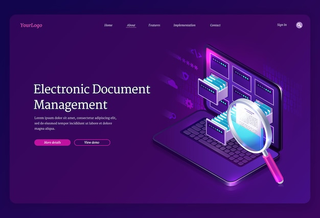 Electronic document management landing page Free Vector