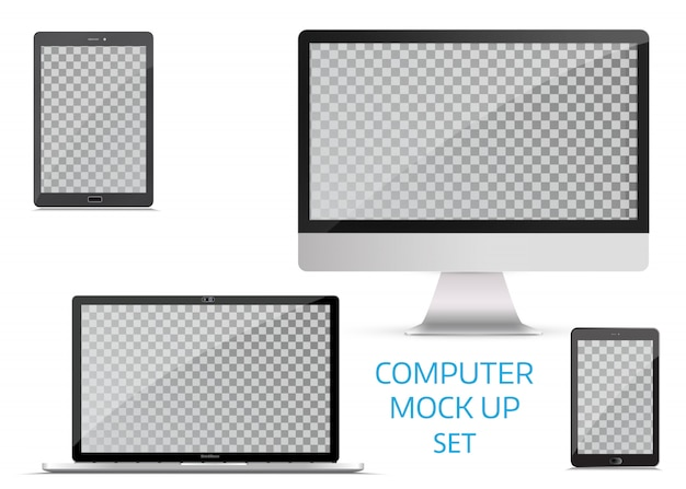Electronic gadgets, isolated, on white background. Premium Vector