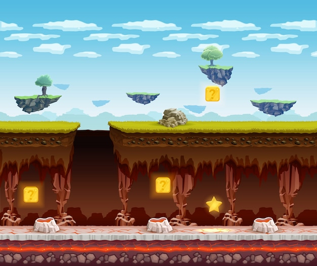 Electronic game underground floor cartoon screen Free Vector