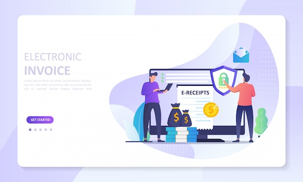 Electronic invoice banner landing page, digital bill for online transactions system Premium Vector