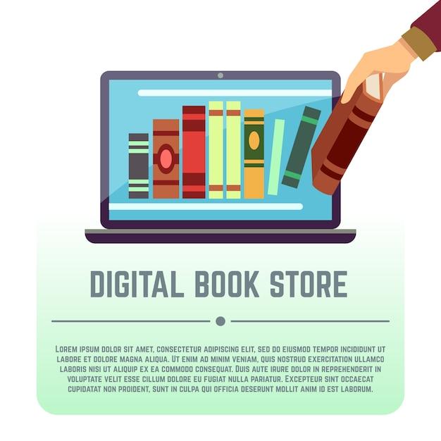 Electronic library Premium Vector