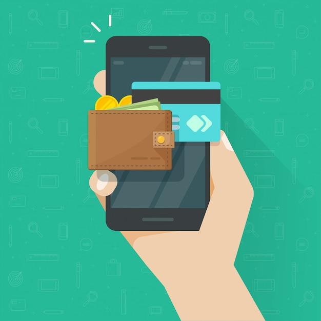 Электронный мобильный кошелек на мультяшном значке мобильного телефона Premium векторы