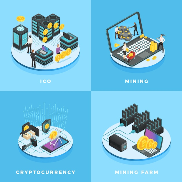 Electronic money, currency mining, ico and blockchain computer network isometric Premium Vector