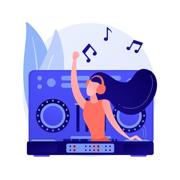 Электронная музыка абстрактная концепция векторные иллюстрации. dj-сет, школьный курс, живое выступление книги, жанры электронной музыки, вечеринка в ночном клубе, фестиваль на открытом воздухе, абстрактная метафора рейв-культуры. Бесплатные векторы