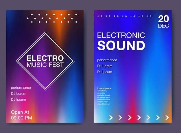 Electronic music fest and electro summer poster Premium Vector
