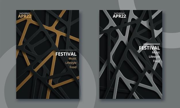 電子音楽祭のミニマルなポスターデザイン Premiumベクター
