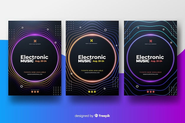 Electronic music festival poster collection Free Vector