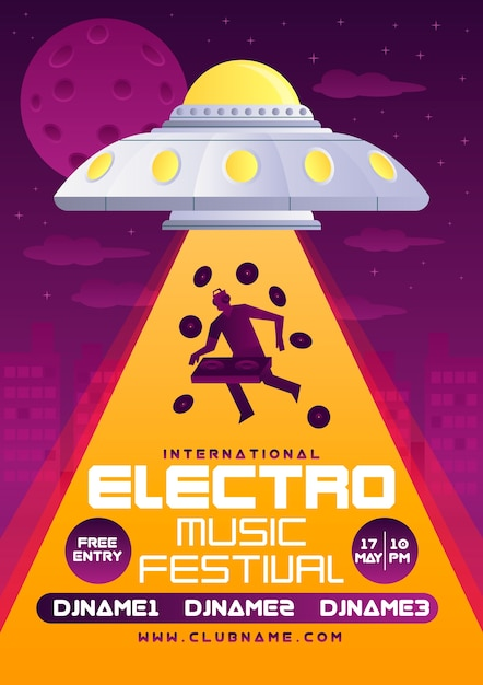 Electronic music festival poster template Free Vector