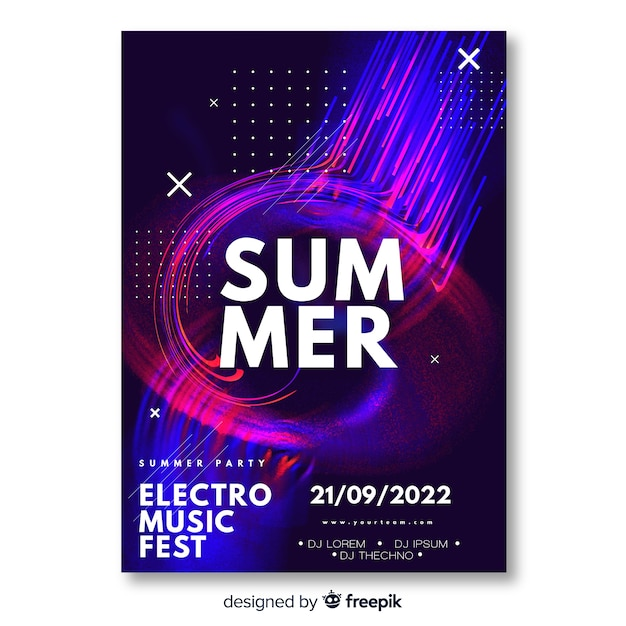 Electronic music festival poster template Vector | Free Download