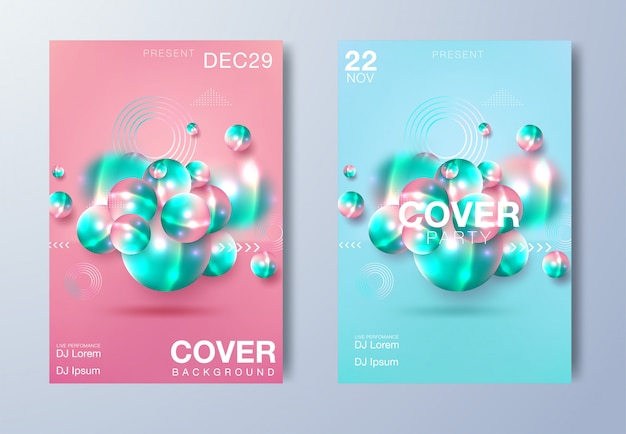 Electronic music poster. modern club party flyer. abstract gradients music background. summer fest vector cover Premium Vector