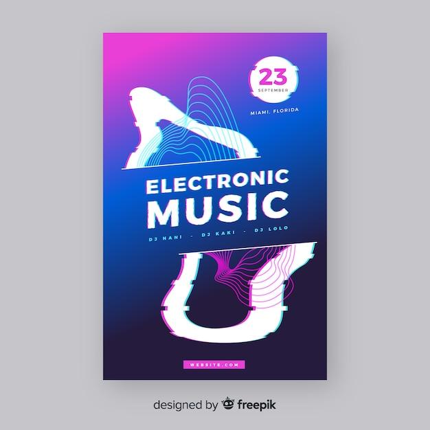 Шаблон электронного музыкального постера Бесплатные векторы