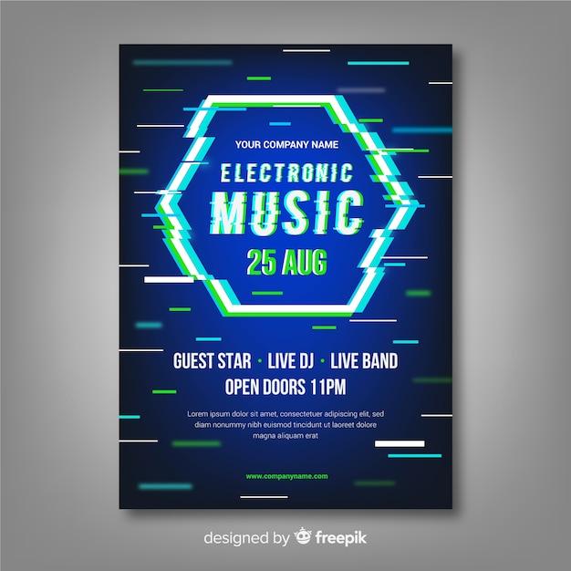Электронный музыкальный плакат с шаблоном с эффектом сбоя Бесплатные векторы