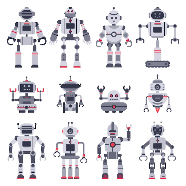Electronic robot toys, cute chatbot mascot and robotic toy characters set Premium Vector
